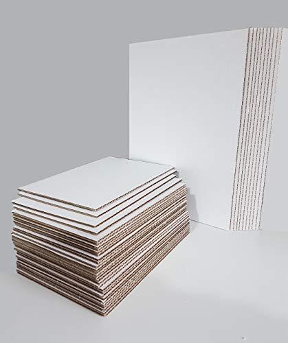 Hojas de Carton Corrugado Marrón-Blanco en tamaños A4 y A5 (Pack de...