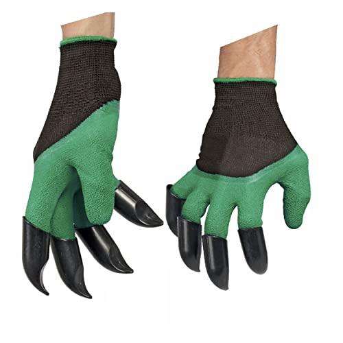 Gartenhandschuhe mit Grabkrallen   Arbeitshandschuhe wasserdicht 4er Set   2x Gartenhandschuhe mit Krallen + 2x normale Garten Handschuhe