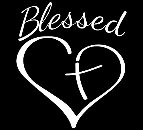Decaltor Blessed Cross And Heart Christian Decal Vinyl Sticker|Cars Trucks Vans Walls Laptop| White 5.5 x 4.5 in