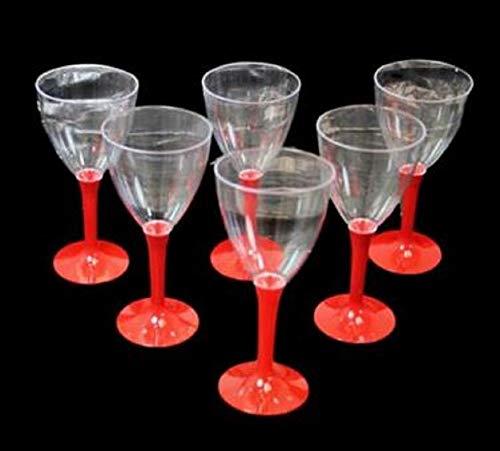 Plastic Copas de vino para casa, fiesta, barbacoa, soporte rojo, plástico, 6 unidades, 15 cm x 7 cm
