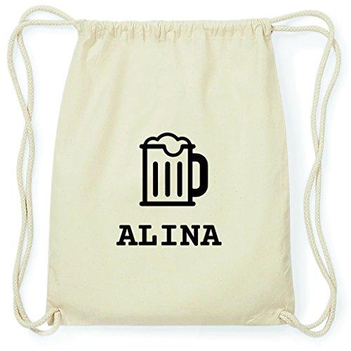 JOllify Turnbeutel - Happy Birthday - für Alina - Bier Gruß