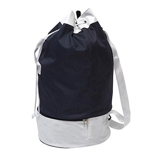 47 Liter Seesack Matrosensack Strandtasche Rucksack Sportsack Reisesack Packsack in 6 Farben (Blauschwarz)