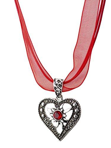 Trachtenkette Herzstein eleganter Herz Anhänger mit funkelndem Strass - Trachtenschmuck Kette für Dirndl und Lederhose (Rot)