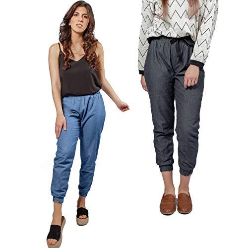 Pantalón Jogger Mujer Largo Denim Jean Vaquero básico Reversible Pack de 2 de algodón ecológico Made in Spain (Denim Claro/Denim Oscuro, Medium)