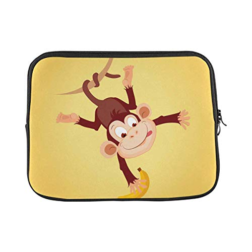 INTERESTPRINT Laptop Sleeve Case Monkey with Banana Neoprene Protective Bag 11 Inch 11.6 Inch