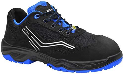 ELTEN Sicherheitsschuhe AMBITION blue Low ESD S1, Herren, sportlich, leicht, schwarz/blau, Stahlkappe - Größe 43