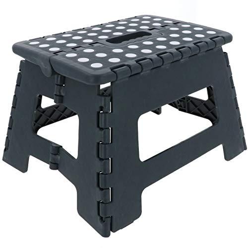 SCHOBERG Stufe Tritthocker Klapphocker bis 120 kg Hocker Grau Kinderhocker 35 x 28 x 22,5cm (LxBxH) Trittbank Sitzhocker Leiter