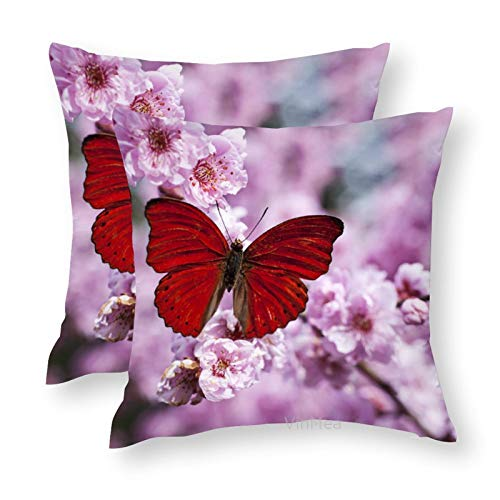 VinMea Set of 2 Decorative Throw Pillow Covers Red Butterfly On Plum Blossom Branch Silky Cushion Covers for Sofa Home Pillow Cases 18x18 Inch