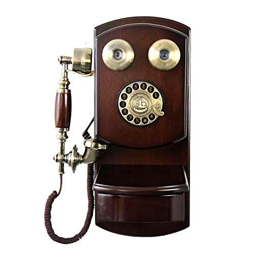 Rotary Dial Telephone Classic Brown Retro Old Fashioned Landline Phones Wall Mounted - with Classic Metal Bell Handfree and Redial Function for Home Decor