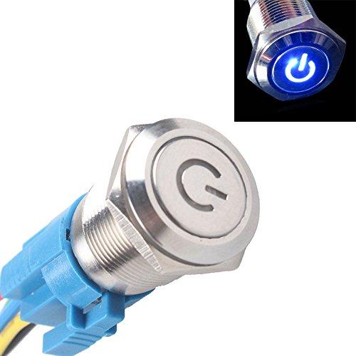 Mintice™ 16mm 12V 3A bleu de véhicule automobile LED poussoir métallique bouton interrupteur de symbole de puissance lumineuse prise de courant