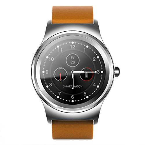 Luoshan Reloj Inteligente con Correa de Cuero Bluetooth con Pantalla táctil a Color de 1.28 Pulgadas SMA-Round, Resistente al Agua, Compatible con Control de Voz/Monitor de frecuencia cardíaca/Mon