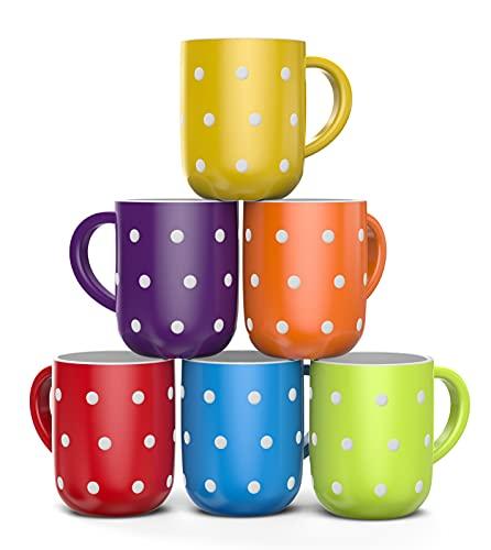 Francois et Mimi, Set of 6 Large 16 Ounce Ceramic Coffee Mugs (Polka Dot)