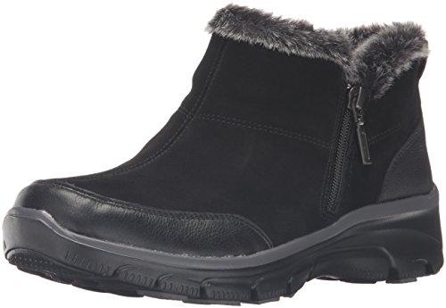 Skechers Women's Easy Going-Zip It Ankle Bootie, Black, 8 M US