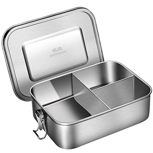 Leak Proof Stainless Steel Bento Box, G.a HOMEFAVOR Metal Lunch Container with 3-Compartment, 1200ML, Perfect for Snacks and Salad, Dishwasher Safe