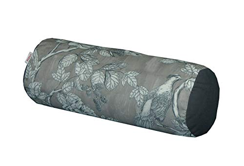 beties Magall Nackenrollenbezug ca. 15x40 cm geschmackvoller Vögel Kissenbezug in Wende Dekokissen Hülle Rückseite Uni 100% Baumwolle (Schiefer-grau)