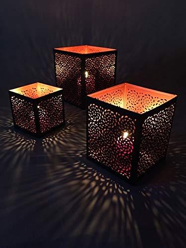 3er Set Orientalisches Windlicht Laterne orientalisch Aleyna 14cm Groß | Orientalische Vintage Teelichthalter Kupferfarben innen schwarz außen | Marokkanische Windlichter aus Metall als Dekoration