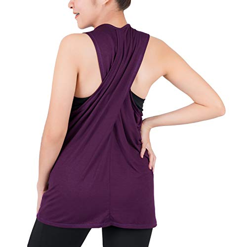 LOFBAZ Workout Tank Tops for Women Yoga Clothes Womens Athletic Shirts Gym Exercise Running Active Fitness Sports Clothing Tanks Top Purple 4XL