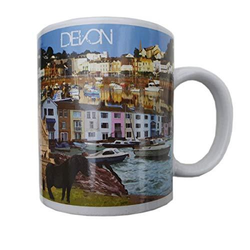 Devon - Taza para café americano, té, chocolate caliente, capuchino, latte, visitantes costa jurásica, Dartmoor, Exeter, Plymouth, Torquay, Dartmouth, Exmoor, Woolacombe, Totnes, Sidmouth Souveni