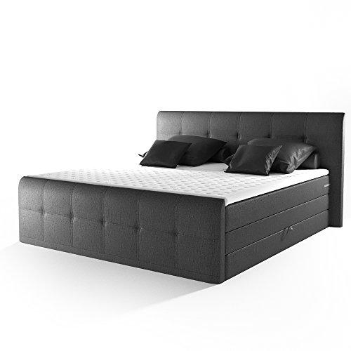 OSKAR Design Boxspringbett Doppelbett Hotelbett Ehebett Crown 180x200 cm anthrazit