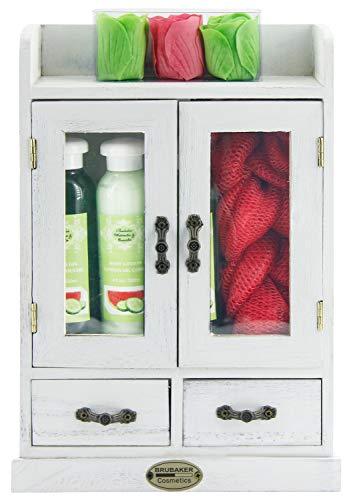 BRUBAKER Cosmetics - 10-teiliges Bade- und Pflege Set Geschenkset - Wassermelone & Gurke - im Vintage Beauty-Schrank Weiß
