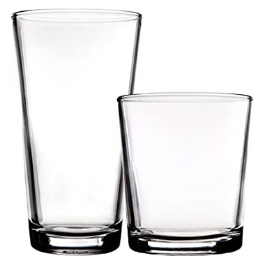 Palais Glassware 'Hendaye' Collection, Clear Glass Sets (Set of 8 - 4 17 OZ Highballs & 4 13 OZ DOF's, Clear)