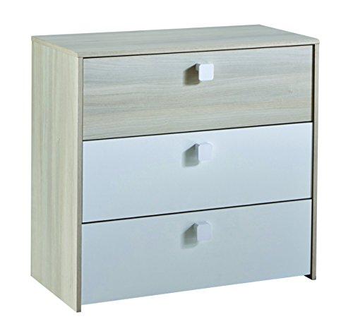13Casa – Easy 5 Como '3 tiroirs. Dim. 83 x 39,6 x 78H cm. MDF blanc laqué et acacia.