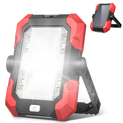 Work Lights, 4400mAh Solar Emergency Lights LED Portable Outdoor Camping Lights, 4 Brightness Modes Waterproof, Built-in Rechargeable Lithium Batteries(with USB Ports to Charge Mobile Devices)