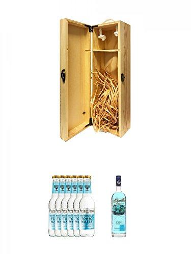 1a Whisky Holzbox für 1 Flasche mit Hakenverschluss + Fever Tree Mediterranean Tonic Water 6 x 0,2 Liter + Magellan Blue Gin 0,7 Liter