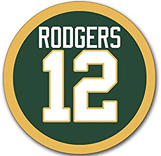 MAGNET 4x4 inch Round RODGERS #12 Sticker - green bay number packers football aaron gb Magnetic vinyl bumper sticker sticks to any metal fridge, car, signs