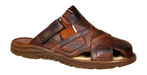 Lukpol Mens Leather Sandals M868 (Chocolate, UK 10)