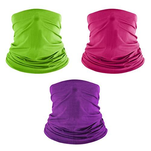 FREE SOLDIER Bandeaux de Cyclisme Sport Fonctionnel Foulard Couvre Bonnet de Vélo de Plein Air Homme Femme, Bandana Cycliste Casquette Moto Séchage Rapide Chapeau,Vert + Rose Rouge + Violet