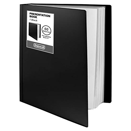 """Dunwell Binder with Plastic Sleeves - (Black, 1 Pack), 60-Pocket Bound Presentation Book with Clear Sleeves, Displays 120 Pages of 8.5x11"""" Inserts, Sheet Protector Binder, Portfolio Display Book"""
