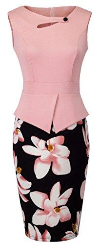 HOMEYEE Women's Elegant Chic Bodycon Formal Dress B288 (M, Light Pink)