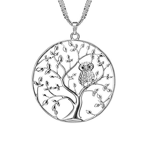 Huture Cadena del árbol de la Vida Collar de Aleación de Las Señoras Cadena de Anclaje de Zirconia Cúbica Vida en Cadena Colgante de árbol Colgante Búho CZ Crystal Collares Joyas para Mujer, Plata