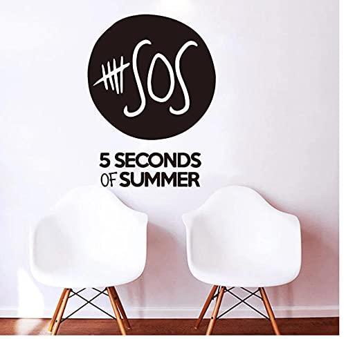5 Seconds Of Summer Letras Música Etiqueta de la pared Habitación de niño Dormitorio (5SOS) bandas de niños Letras de música Etiqueta de la pared Sala de estar Decoración de vinilo 56 cm x 42 cm