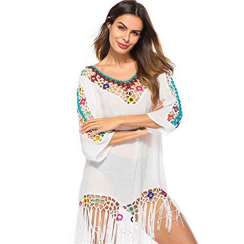 Traje de baño de Mujer Falda de Playa de Ganchillo Top Poncho de Punto Bikini Bikini de Camuflaje de Verano(white-p1851)