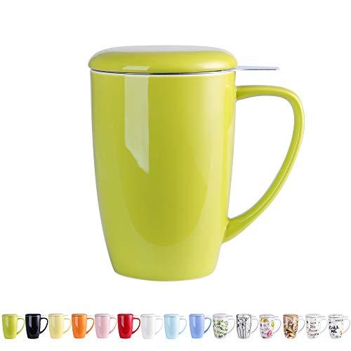 LOVECASA Porzellan Teetasse 450 ml, Beinhaltet Becher, Edelstahl Teefilter und Deckel, Grün