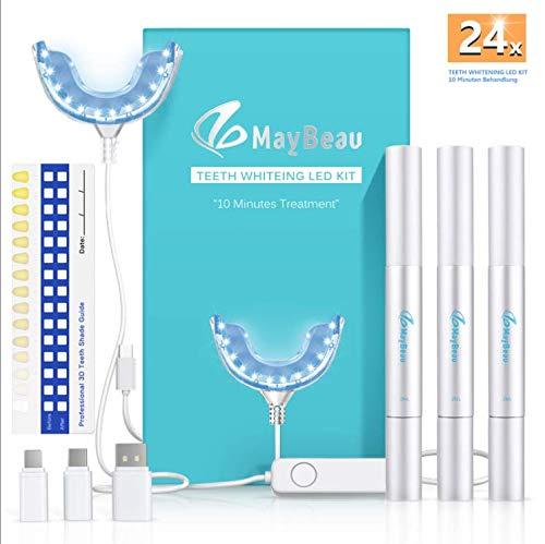 Teeth Whitening Kit Zahnaufhellung Set, BESTOPE Hochwertig 24X LED Licht mit 3 Zahnaufhellung Stifte Zahnbleaching Gel Bleichsystem für Weiß Zähne Zahnweiß Zahnreinigung Zahnpflege zu Hause