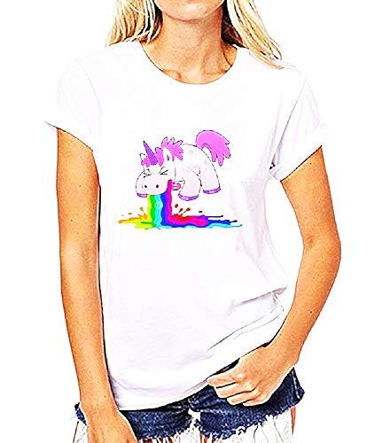 Rainbow sweater - vrouwelijk eenhoorn t-shirt - vrouwelijk - meisje - multi - origineel cadeau-idee - korte mouwen - wit