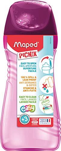 Maped Picnik Origins - Gourde pour Enfants avec Capuchon de Protection- Système Anti-Gouttes et Etanche - en Plastique Sans BPA - Rose - 430ml