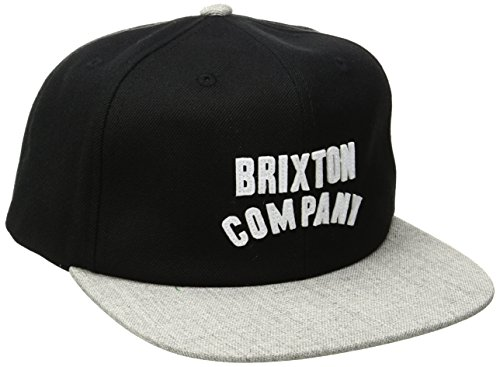BRIXTON Wood Burn Snapback – Gorra para Hombre, Hombre, Woodburn Snapback, Black/Light Heather Grey, Talla única