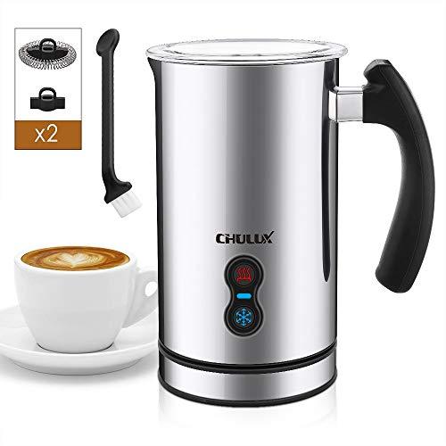 CHULUX Milchaufschäumer Elektrisch 240ml 500W Automatischer Edelstahl Milchschäumer, Antihaftbeschichtung, Erhitzen und Aufschäumen für heiße und kalte Milch