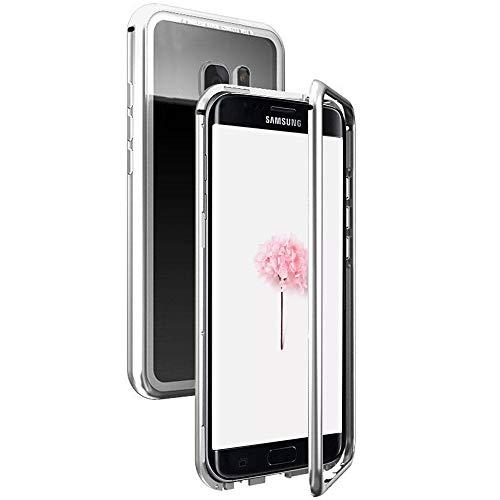 SpiritSun Funda para Samsung Galaxy S7 Edge, Transparente Carcasa Duro PC Cubierta Trasero Marco Magnético Silicona Case Claro Anti-Gota Anti Rasguños Lujoso Bumper Tapa Protector Caso Estuche, Plata