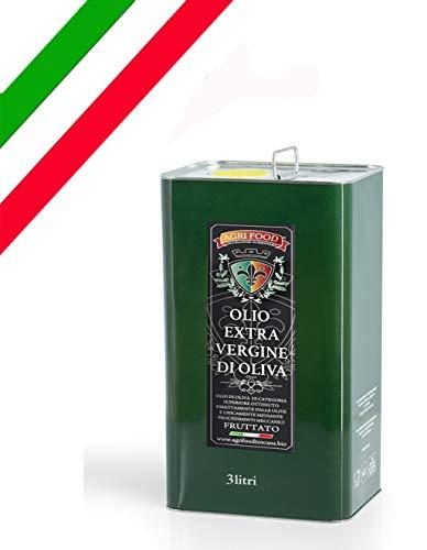 Olio Extra Vergine D'Oliva Agrifood 'ORO' grezzo fruttato ITALIANO Prima Spremitura a Freddo, Ultimo RACCOLTO (3 Litri)