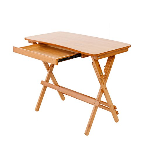 DNSJB Mesa Plegable de Zigzag de bambú, Escritorio de la Sala de Estar, Escritorio de la computadora, Altura de Escritorio de la Escuela Primaria Ajustable