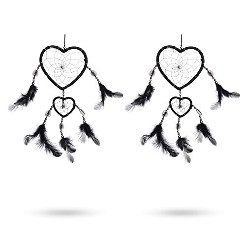2 Pcs Handmade Sweet Heart Shaped Dream Catcher Feather Circular Net Hanging Black