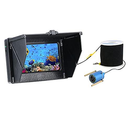 Videocamera da Pesca Subacquea 4,3 Pollici Monitor 10pcs LED Night Vision 195 Gradi Camera per Pesca 15m 1200TVL Fish Finder,15m