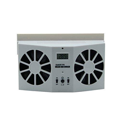 VORCOOL Auto Kfz Ventilator Wiederaufladbare Solar Lüfter Fan für Front/Heckscheibe Windschutzscheibe Fan (Weiß)