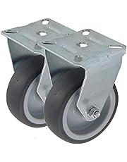 2 stuks bokwielen als apparaatwielen wiel van rubber grijs 50 75 en 100 mm bevestiging gat plaat als bokwielen transportwiel