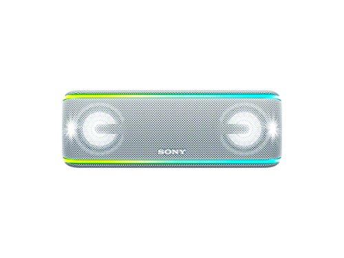 Sony SRS-XB41 kabelloser Bluetooth Lautsprecher (tragbar, mehrfarbige Lichtleiste, Lautsprecherbeleuchtung, Stroboskoplicht, NFC, kompatibel mit Party Chain, Freisprechfunktion für Anrufe) weiß